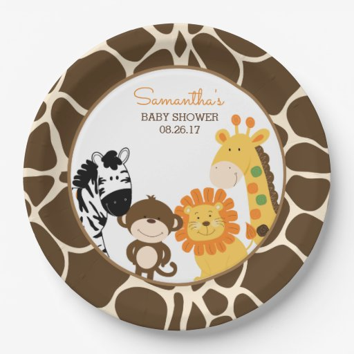 Giraffe Print Jungle Safari Animals Paper Plate