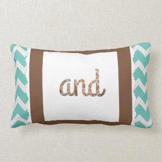 "Giraffe Print Letter ""and"" on Mint/White Chevron Lumbar Pillow"