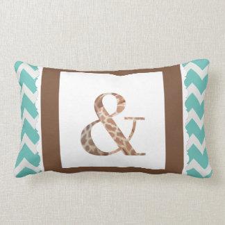 "Giraffe Print Letter ""&"" on Mint/White Chevron Lumbar Pillow"