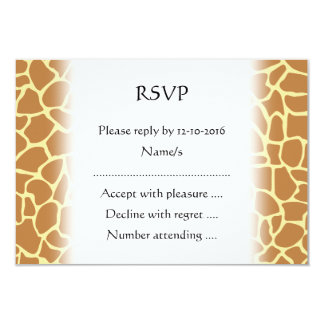 Giraffe Print Pattern. 3.5x5 Paper Invitation Card