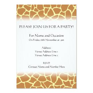 Giraffe Print Pattern. 5x7 Paper Invitation Card