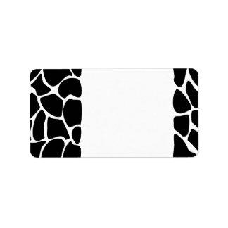Giraffe Print Pattern. Animal Print Design, Black Address Label