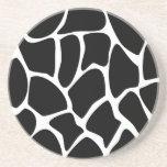 Giraffe Print Pattern. Animal Print Design, Black Coasters