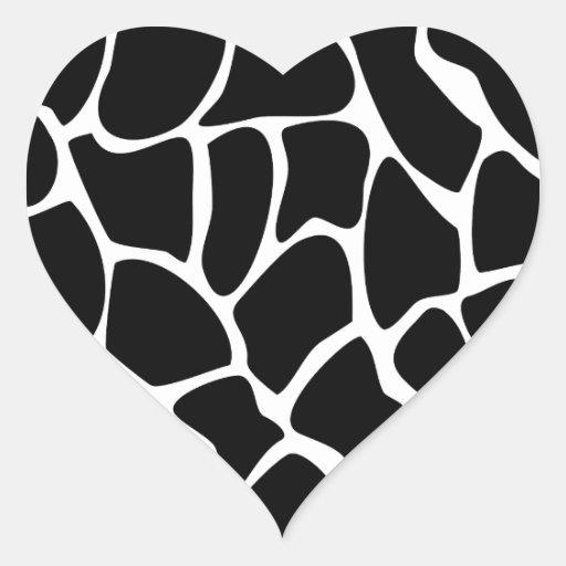 Giraffe Print Pattern. Animal Print Design, Black Heart Sticker