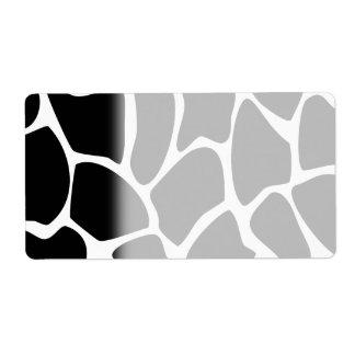 Giraffe Print Pattern. Animal Print Design, Black. Label