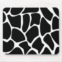 Giraffe Print Pattern. Animal Print Design, Black Mouse Pad