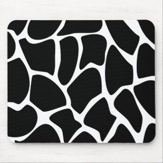 Giraffe Print Pattern. Animal Print Design, Black Mouse Pad