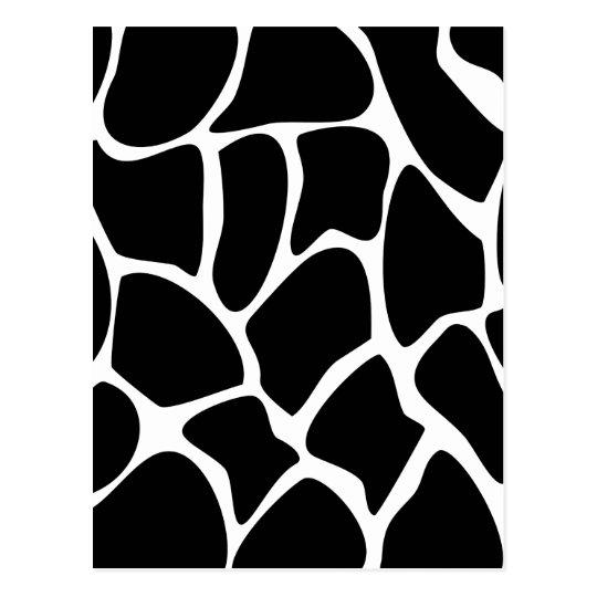 Giraffe Print Pattern. Animal Print Design, Black Postcard