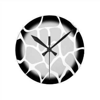 Giraffe Print Pattern. Animal Print Design, Black. Round Clock