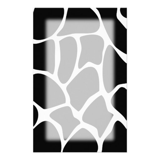 Giraffe Print Pattern. Animal Print Design, Black. Customized Stationery
