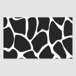 Giraffe Print Pattern. Animal Print Design, Black Rectangular Sticker
