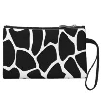 Giraffe Print Pattern. Animal Print Design, Black. Wristlet Wallet