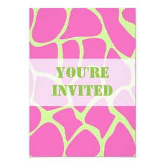 Giraffe Print Pattern, Bright Pink and Lime Green 5x7 Paper Invitation Card