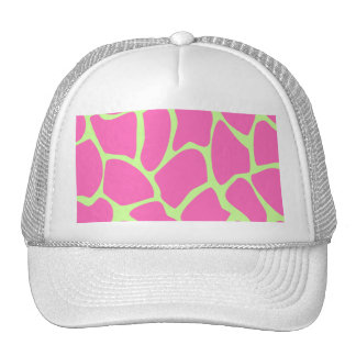Giraffe Print Pattern, Bright Pink and Lime Green Trucker Hat