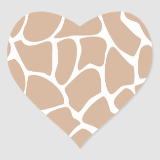 Giraffe Print Pattern in Beige. Heart Sticker
