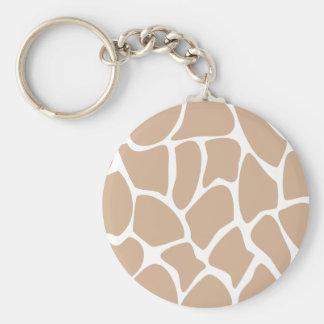 Giraffe Print Pattern in Beige. Keychain