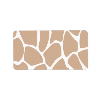 Giraffe Print Pattern in Beige. Label