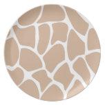 Giraffe Print Pattern in Beige. Plate