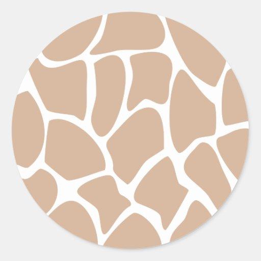 Giraffe Print Pattern in Beige. Round Stickers
