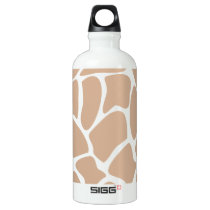 Giraffe Print Pattern in Beige. Water Bottle