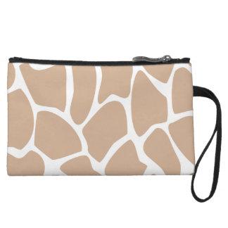 Giraffe Print Pattern in Beige. Wristlet Wallet