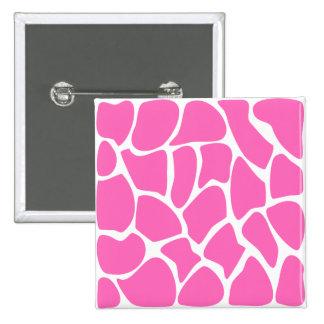 Giraffe Print Pattern in Bright Pink. 2 Inch Square Button