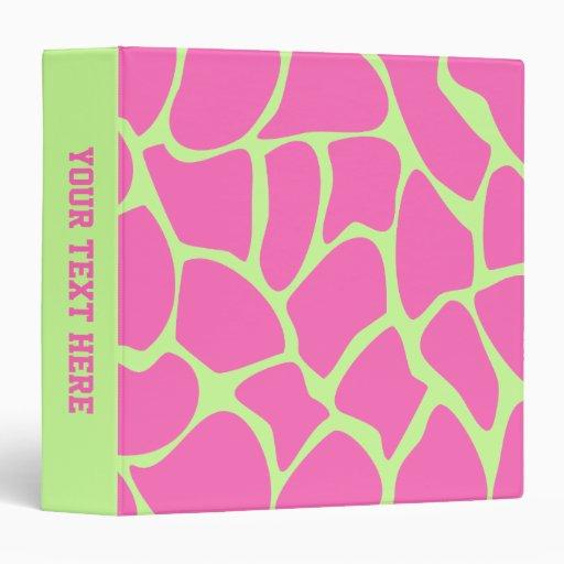 Giraffe Print Pattern in Bright Pink and Green. 3 Ring Binder
