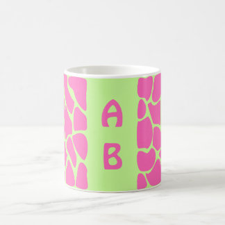 Giraffe Print Pattern in Bright Pink and Green. Coffee Mug