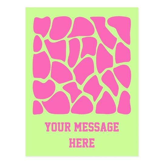 Giraffe Print Pattern in Bright Pink and Green. Postcard