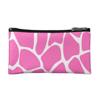 Giraffe Print Pattern in Bright Pink. Makeup Bags