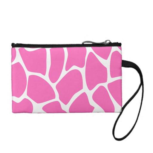 Giraffe Print Pattern in Bright Pink. Coin Purse