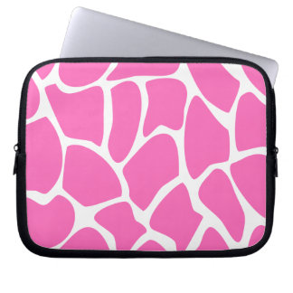Giraffe Print Pattern in Bright Pink. Computer Sleeve