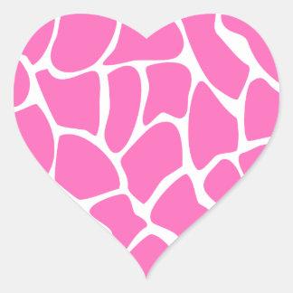 Giraffe Print Pattern in Bright Pink. Heart Sticker