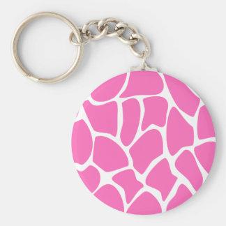 Giraffe Print Pattern in Bright Pink. Keychain
