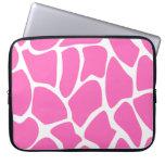 Giraffe Print Pattern in Bright Pink. Laptop Computer Sleeve