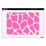 Giraffe Print Pattern in Bright Pink. Laptop Skins