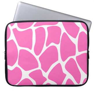 Giraffe Print Pattern in Bright Pink. Laptop Computer Sleeve