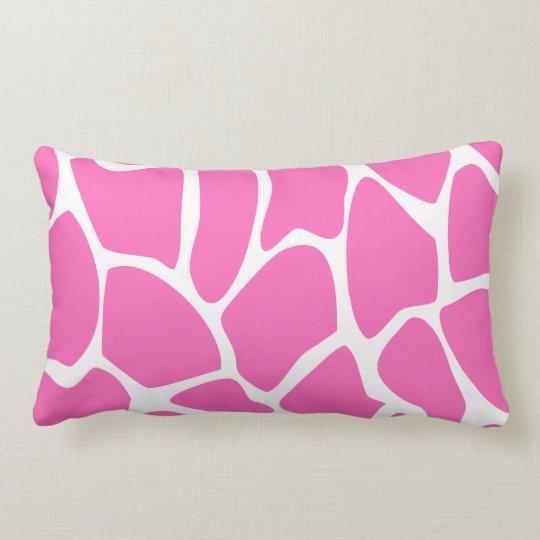 Giraffe Print Pattern in Bright Pink. Lumbar Pillow