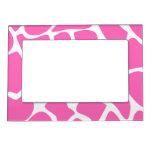 Giraffe Print Pattern in Bright Pink. Magnetic Frame