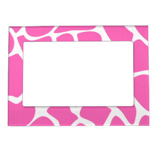 Giraffe Print Pattern in Bright Pink. Magnetic Picture Frame
