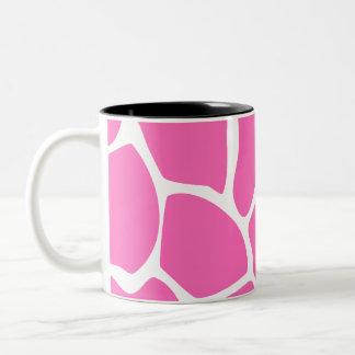 Giraffe Print Pattern in Bright Pink. Two-Tone Coffee Mug