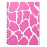 Giraffe Print Pattern in Bright Pink. Spiral Note Book