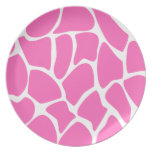 Giraffe Print Pattern in Bright Pink. Party Plates