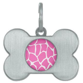 Giraffe Print Pattern in Bright Pink. Pet Name Tags