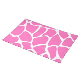 Giraffe Print Pattern in Bright Pink Place Mats