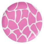 Giraffe Print Pattern in Bright Pink. Plate