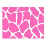 Giraffe Print Pattern in Bright Pink. Post Cards
