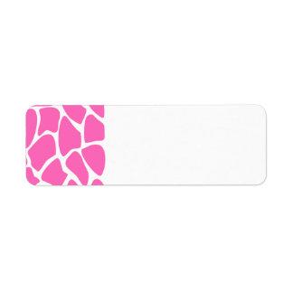 Giraffe Print Pattern in Bright Pink. Return Address Label