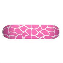 Giraffe Print Pattern in Bright Pink. Skateboard