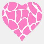 Giraffe Print Pattern in Bright Pink. Heart Stickers